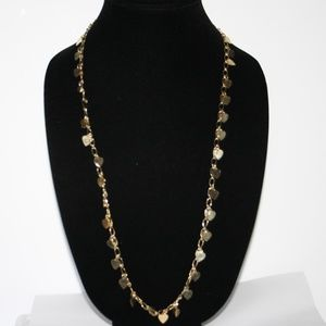 Vintage gold heart dangle charm necklace